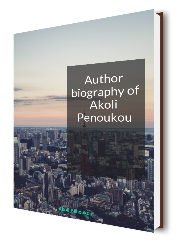 A sunset over a city with skyscrapers bearing the inscription Author biography of Akoli Penoukou
