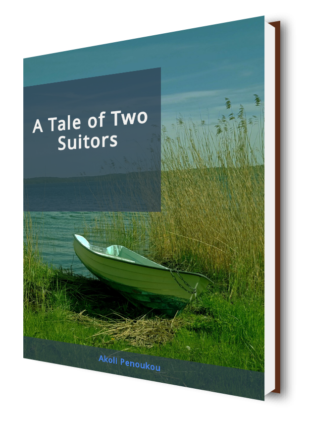 A leafy shore of a river showing a berthed canoe and bearing the inscription A tale of two suitors