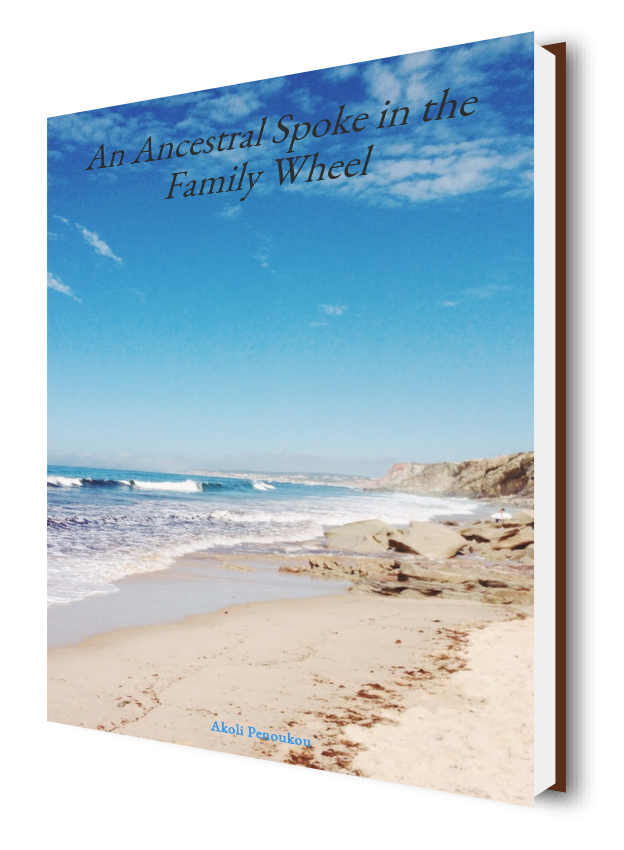 A bright blue sky and a sandy shore of an eBook cover bearing the inscription An ancesttral spoke in the family wheel