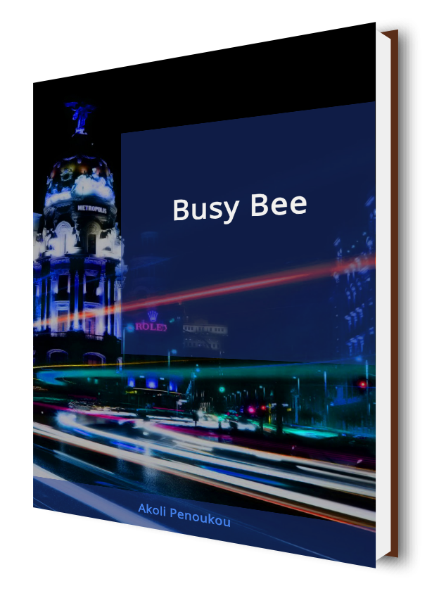 A bright blue eBook cover showing a night street with tower in the background and the inscription Busy bee