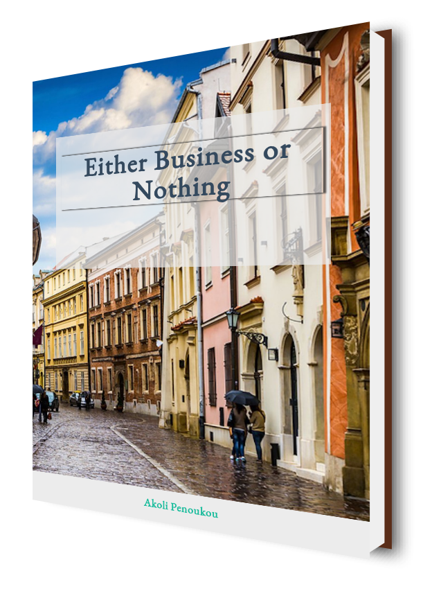 A Krakow street as eBook cover labelled Either business or nothing