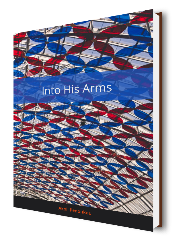 A kaleidoscopic eBook cover with a blue middle stripe bearing the title Into his arms