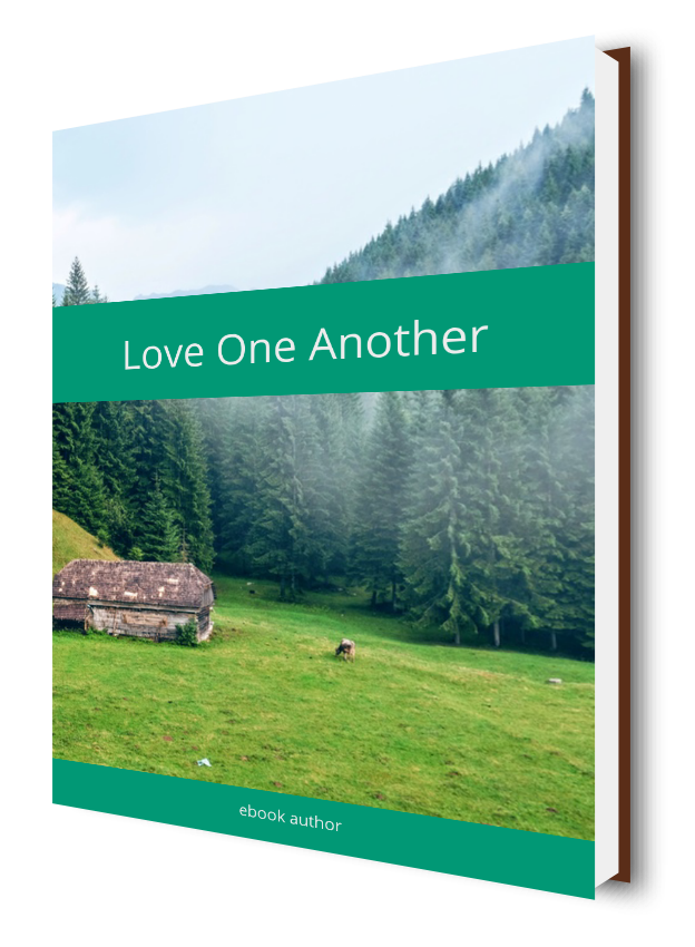 A bright green eBook cover showing a mountain in the background and bearing the title Love one another