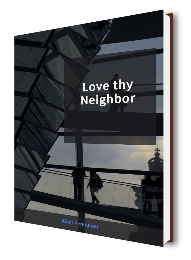 A dark eBook cover showinf something like stairs and bearing the title Love thy neighbour