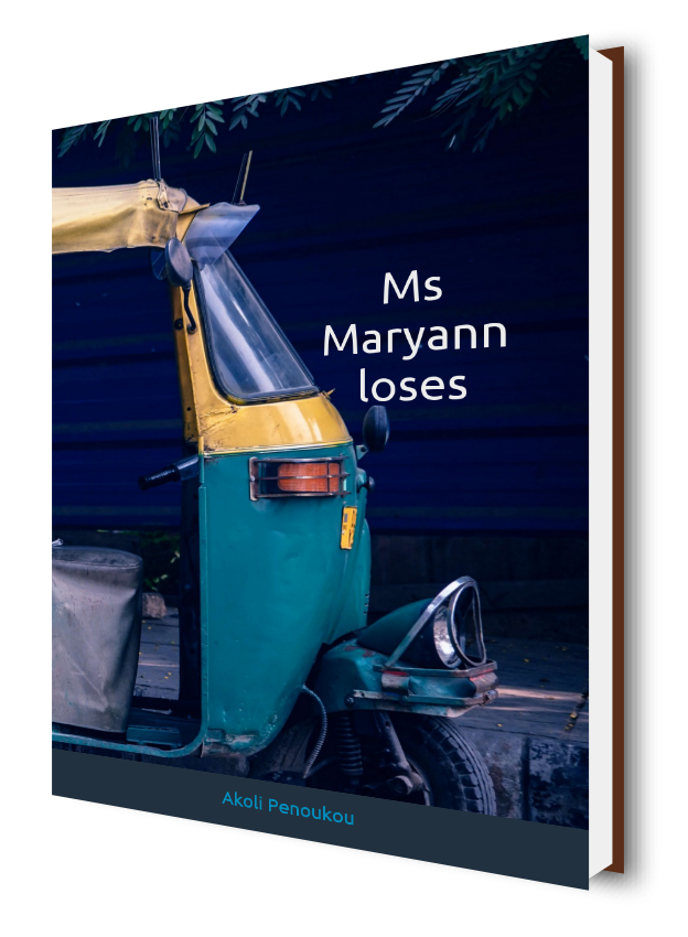 An eBook cover of a night Bangkok street showing a tricycle and bearing the title Ms Maryann loses