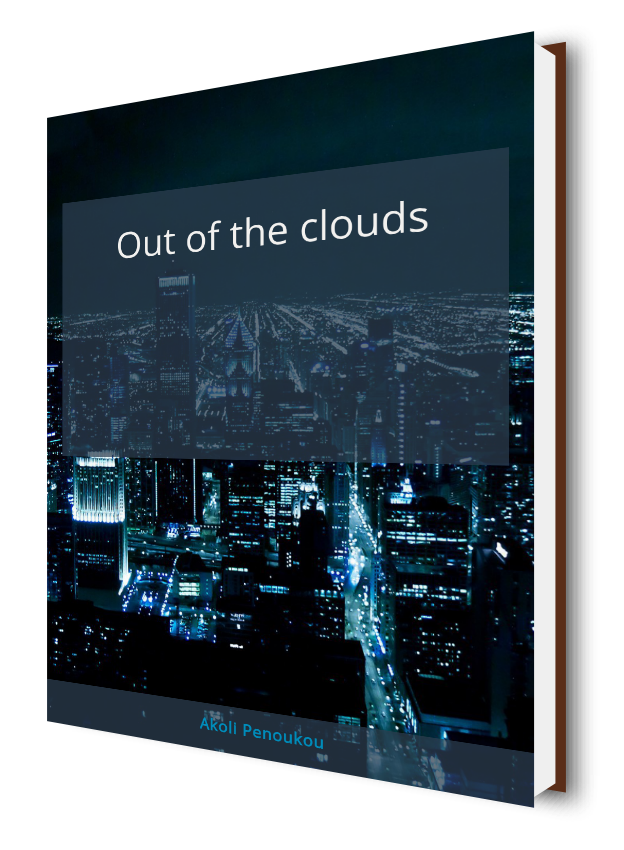 An eBook cover of a dark city night in bluish hue with the title Out of the clouds
