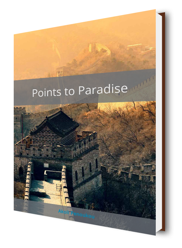 An eBook cover showing the Great Wall of China at sunset and showing the title Points to paradise