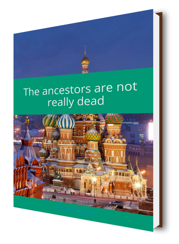 An eBook cover showing the Kremlin and the title The ancestors are not really dead