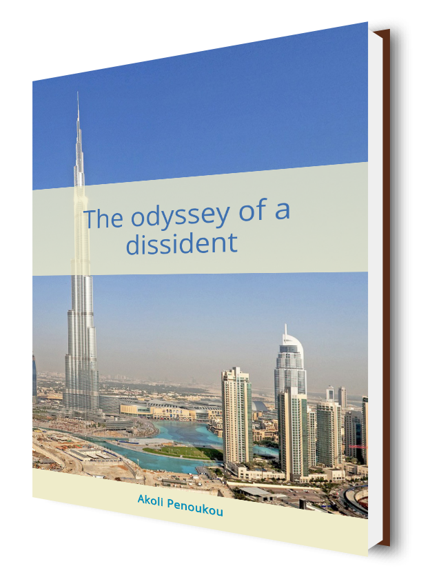 Picture of some of Dubai's skyline and a light grey middle strip entitled The odyssey of a dissident