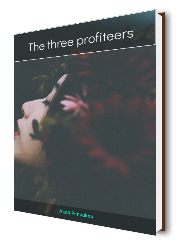 A lady's up-raised head against a dark background with the title The three profiteers