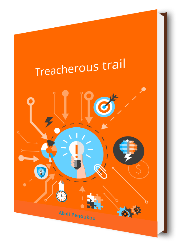 A bright yellow book cover with several objects around a circle and bearing the title Treacherous trail